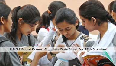date sheet for 12th standard